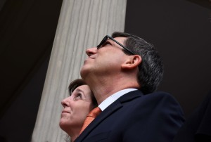 July 20, 2015 - U.S. State Dept. Official Roberta Jacobson and Cuban Foreign Minister Bruno Rodriquez watch the Cuban flag being raised at the Cuban Embassy in Washington DC. Photo, Bill Hackwell