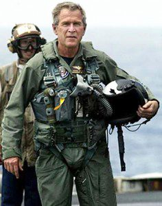 """Iraq Bush on the USS Abraham Lincoln gives """"Mission Accomplished"""" speech about the Iraq War 2003."""