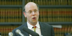Michael Ratner, president of the Center for Constitutional Rights, gestures during a news conference, Thursday, Feb. 19, 2004, in New York, where he discussed the imminent release of five British citizens who have been held for more than two years at the U.S. military facility in Guantanamo Bay, Cuba. The five prisoners to return were identified as Rhuhel Ahmed, Tarek Dergoul, Jamal al-Harith, Asif Iqbal and Shafiq Rasul. (AP Photo/Kathy Willens)