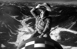 "A scene from ""Dr. Strangelove,"" in which the bomber pilot rides a nuclear bomb to its target in the Soviet Union."