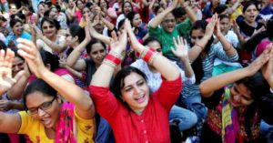 Nurses protest against the government in Chandigarh, India, on Friday. Photo: Ajay Verma